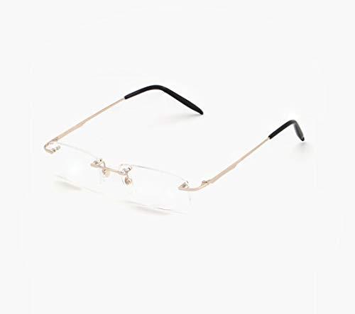 JBHURF Hyperopia Lesebrille Frameless Resin Anti-Müdigkeit Computer Brille für Männer und Frauen Super Light Comfort (Farbe : Gold, größe : 2.0X) -