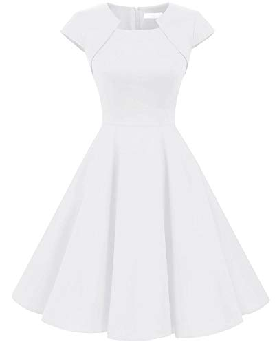 HomRain Damen 50er Vintage Retro Kleid Party Kurzarm Rockabilly Cocktail Abendkleider White M