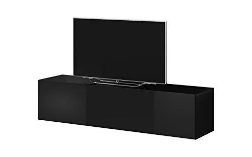 E-Com - TV-Lowboard Fernsehschrank Fernsehtisch Rocco - 160 cm - Schwarz