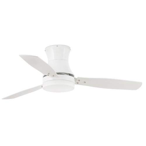 Projector Barcelona Tonsay 33384 Ceiling Fan with Light, 15 W Motor, Wings: Wood and Steel/White Opal Glass Maple Polycarbonate White