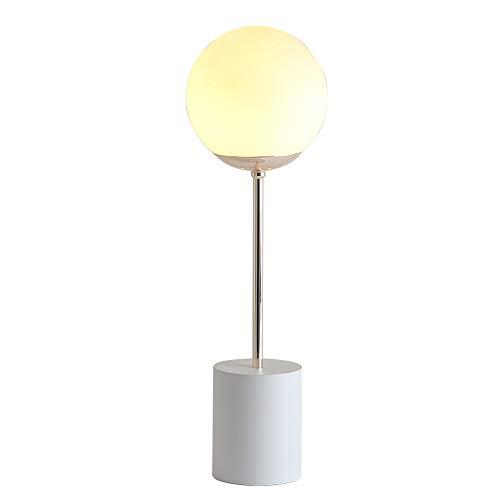 Lampes de table postmodernes en fer, boule de verre créative à LED, éclairage, bureau, lumière, chambre à coucher, lecture, lampe de table de chevet, noir, blanc (Color : White)