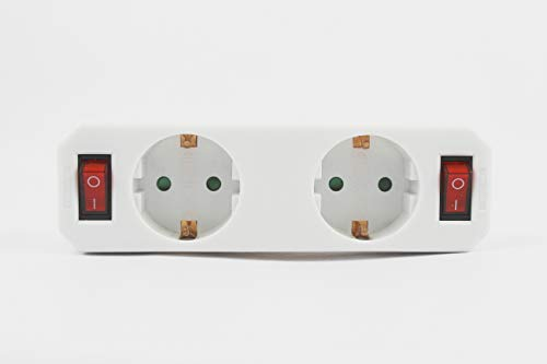 Adapter 2 Steckdosen mit 2 Schaltern, 2-fach Verteiler mit Schalter, Einbrecher mit Schalter.