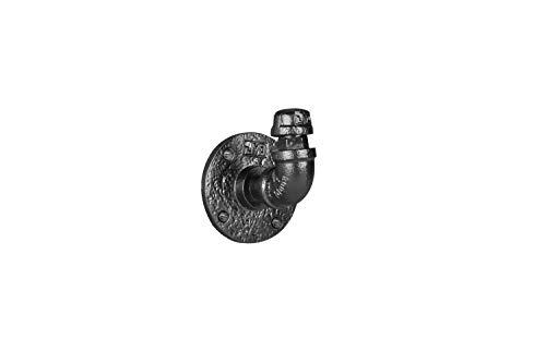 Black Powder Finish (Set von 4Industrie-Stil Kleiderhaken 31/5,1x 7,6cm Schwerlast Wand montiert DIY Stil Gewinde Boden Flanschen Beschläge & Ellbogen Black Powder Coat Finish)