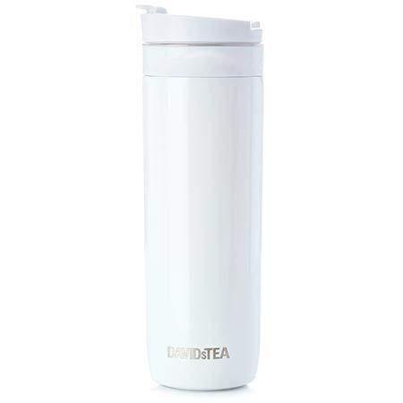 DAVIDsTEA Tea Press Double-Walled Stainless Steel Travel Mug for Loose Tea, 16 oz / 473 ml (White)
