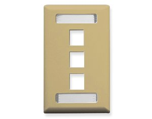 FACEPLATE, ID, 1-GANG, 3-PORT, IVORY Gang Wall Plate 3 Port