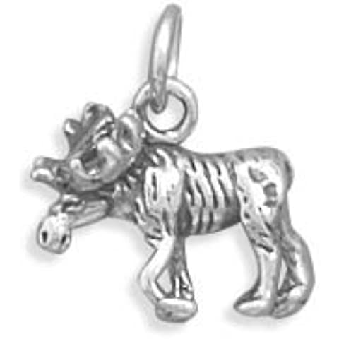 Sterling Silver Moose Charm misure 12x 11.5mm
