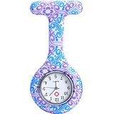 JSDDE Uhren,Krankenschwester FOB-Uhr Damen Taschenuhr Analog Quarzuhr aus Silikon,Lila-Blau Muster