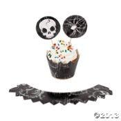 Spooky'tête de mort Halloween caissettes pour cupcakes et pics (Lot de 12)