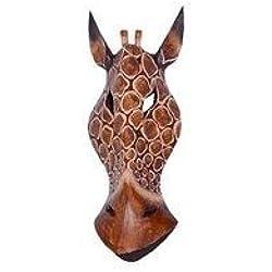 Máscara decorativa de Bali con diseño de jirafa (30 cm, madera)