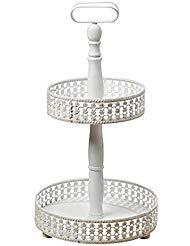 Runde Etagere Rack (Die Emilia zweistufige Etagere Server Ständer, rustikal weiß, Distressed Finish, Vintage-Stil, 48,3cm hoch, m.d.f. Holz und Metall, von ganze Haus Welten)