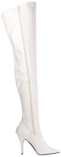 Pleaser Seduce-3000, Bottes femme Blanc (Wht Str Pat)