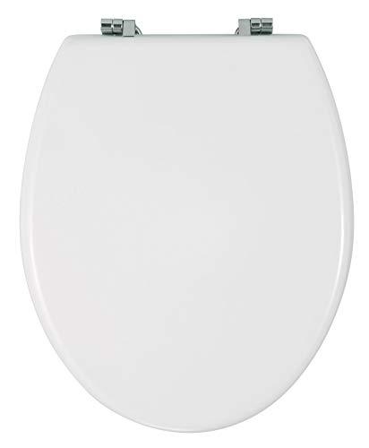 WENKO 16705100 WC-Sitz Bali Toilettensitz, rostfreie Edelstahlbefestigung, MDF, 35 x 42 cm, weiß