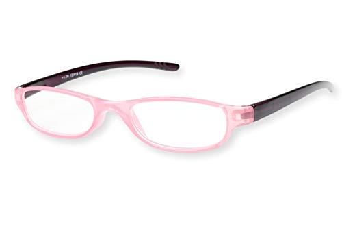Lesebrille Damen rosa oval leicht schmal transparent mit dunkelroten Bügeln Lesehilfe Sehhilfe 1.0 1.5 2.0 2.5 3.0, Dioptrien:Dioptrien 3.0