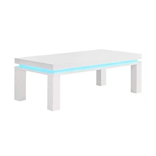 Générique Flash Table Basse avec LED Bleu 120x60 cm - laqué Blanc Brillant