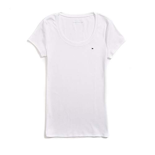 Tommy Hilfiger Damen T-Shirt, Women's Signature T-Shirt, White, XL (Tommy Polo-shirt Woman Hilfiger)