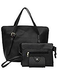 Tradico® 4pcs/Set Women Solid PU Handbag+Shoulder Bag+Clutch+Card Bag(Black)