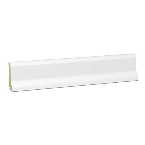 KGM Sockelleiste weiß Waldberger Profil | Clip Leiste 22x60mm weiß | Echtholz Fussleiste ummantelt mit Qualitätsfolie | Bodenleiste zur unsichtbaren Montage mit KGM ExPress Clip | Länge 2.5m