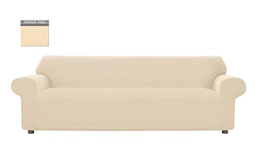 Copridivano genius tinta unita, per divano xl 4 posti, colore panna 1004