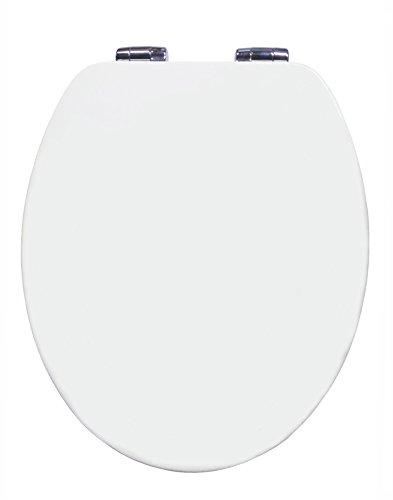 Grünblatt WC Sitz Holzhern Hochglänzende Oberfläche (high gloss), Soft-Close Absenkautomatik, take-off quick-release Metall scharnier (Weiß) (Soft-wc-sitz Oval)