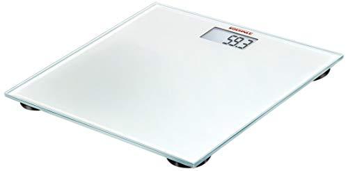 Soehnle Pino White digitale Personenwaage mit großer Trittfläche, Waage mit gut lesbarer LCD-Anzeige, Personen Digitalwaage in hochwertiger Optik (Solar Oberfläche Licht)