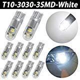 TABEN extrêmement lumineux 500 lumens 3030 Chipset ampoules LED pour voiture Intérieur dôme carte Porte Feux de plaque d'immatriculation Courtois Compact Wedge T10 168 194 2825 Xenon Blanc (lot de 2)