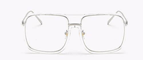 WSKPE Sonnenbrille Quadratische Sonnenbrille Marke Design Frauen Männer Retro Sonnenbrille Metallschirmen Für Männliche Vintage Eyewear Uv400 (Silber Rahmen Transparent Linse)