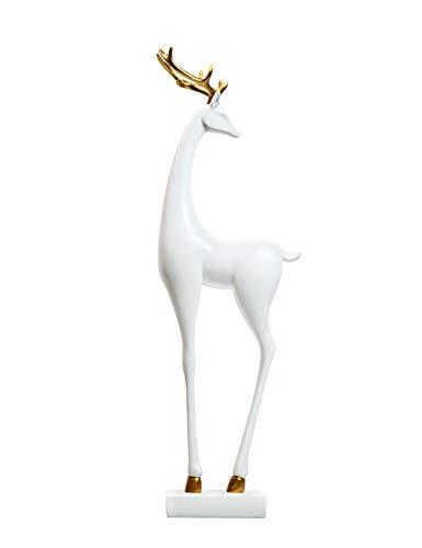 Amoy-Art Figurillas Decorativas con Diseño Ciervo Escultura Figura Regalo Estatua Decoración para el Hogar Sala de Estar Oficina Animal Deer Figurine Statue Casa Resina 44cmH Blanco