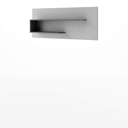 Mirjan24 Wandboard Bumerang BR10, Praktische Wandregal, Regal, Buchregal, Hängeregal, Jugendzimmer (Graphit/Grau)