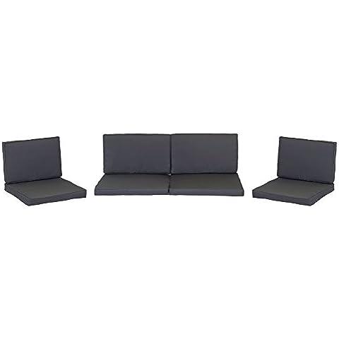 Mimbre de ratán de meditación para grupos lounge en gris oscuro incluye ocho cojines con acolchado 100% poliéster con cremallera resistente al agua