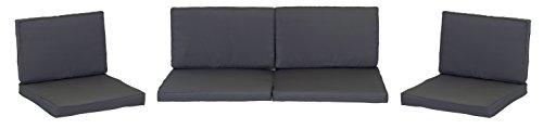 Gartenmöbel Kissen (beo Loungekissen Ersatz für Monaco Set Gruppen Austauschkissen wasserabweisend Set mit 8 Kissen, 5 cm dick, anthrazit/schwarz)