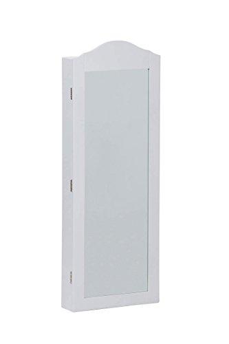 CLP Schmuckschrank SUAREZ mit Spiegel | Spiegelschrank mit Haken für Ketten und Steckplätzen für Ringe Weiß - 5