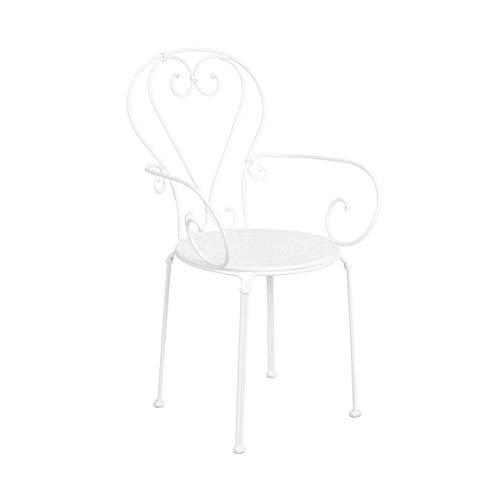 Butlers Century Stuhl mit Armlehnen - weiße Sitzmöglichkeit aus Eisen - für Garten und Balkon - französischer Stil