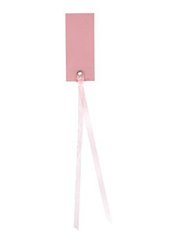 12 Marque-places rectangle avec ruban rose