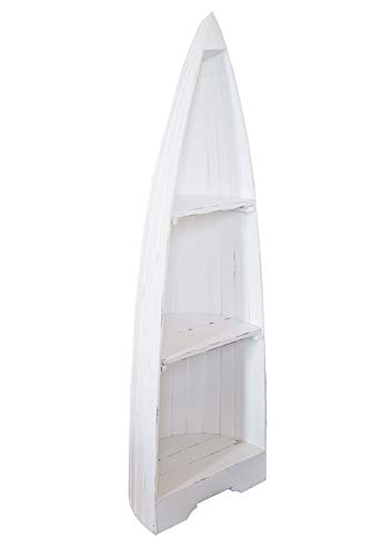 Megasparmarkt Indonesia Design | Boot Regal | Weinregal | Bücherregal | Stand Regal aus altem Bootsrumpf | Holzregal | 150 cm | weiß lackiert | 3 Fächer