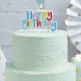 Bunte Happy Birthday Kerze zum Aufstecken auf die Geburtstagstorte