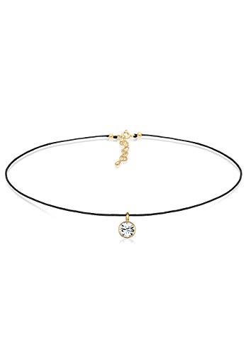 Elli Damen Schmuck Halskette Kette mit Anhänger Choker Funkelnd Glamourös Trend Blogger Silber 925 Vergoldet Swarovski® Kristalle Gold Länge 36 cm