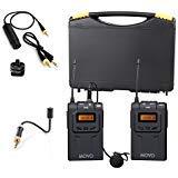 Movo WMIC70sistema microfono senza fili UHF Lavalier e sifoni con sifoni mic, omni-lav, camera Mount & 3.5mm/XLR output (100m Range)