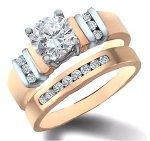 14 Carat White Gold Bridal Set Diamond Ring 0.60 Carat TDW