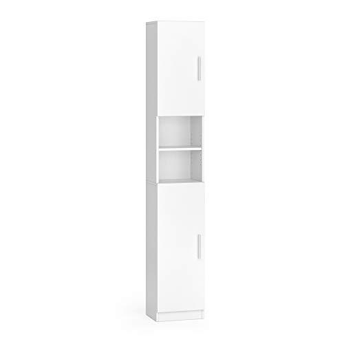 Vicco Anstellschrank LUIS Waschmaschinenschrank Badmöbel Badschrank Hochschrank (Weiß)