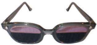 Quartzworking Split-Lens Glass Spectacles in Plastic Safety Frame - 1/3 Top Ace Didymium - Bottom 2/3 Shade #8 by Quartz Split Lens