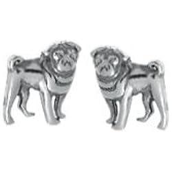 Pendientes de plata de ley diseño de pug
