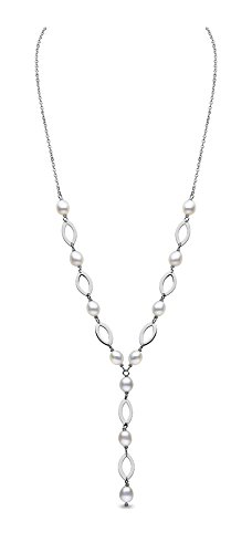 Kimura-Braccialetto con perle di fiume, in argento sterling, 5,5 mm, colore: bianco (a chicco di riso-Collana con perle d'acqua dolce, 46