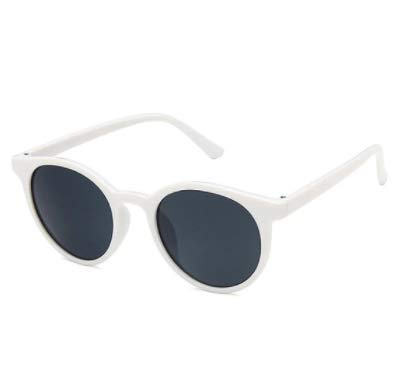WENZHEN Runde Sonnenbrille mit Rahmenverzierung, Weiß
