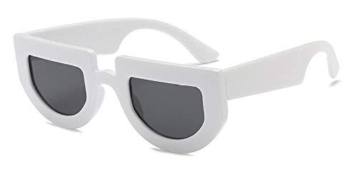 Kuletieas weiße halbrunde sonnenbrille dicke brille 2019 schwarz retro vintage sonnenbrille für frauen männer unisex uv400 @ weiß mit schwarz