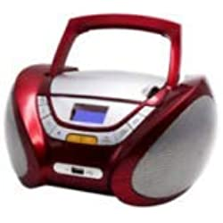 Lauson Lecteur CD | Radio Portable | Bluetooth USB | Radio Stéréo CD Lecteur MP3 Pour Enfant | Prise casque | Aux In - Écran LCD - Batterie (non inclus) et Alimentation électrique | CP449 (Rosso)