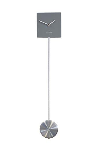 Fisura CL0314 Orologio da Parete Pendolo Cubo Grigio 15x15x15cm, Pendolo da 65 cm Legno/Metallo Design Moderno Colorato Analogico da Muro