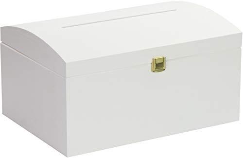 LAUBLUST - Holztruhe in Größe L - Kiefer Weiß ca. 35 x 25 x 19 cm - Truhe mit Schlitz und Schloss - Eckige Kanten und Deckel - 100 % Vollholz (Mit Geld Box Schlitz)