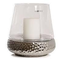 Windlicht BILBAO Glas Keramik silber modern Design Kaheku H 30 cm