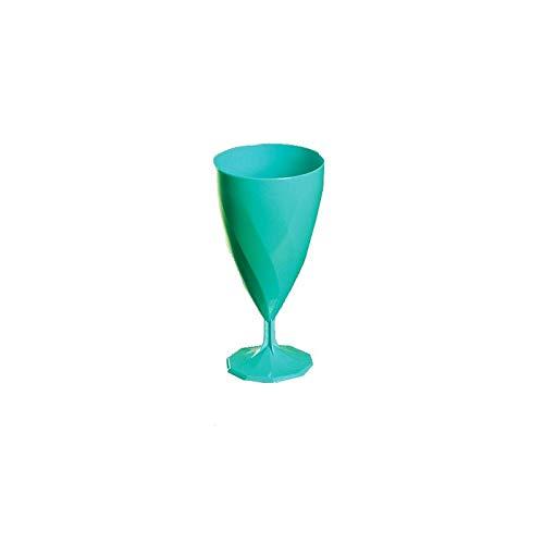 Adiserve Lot DE 12 Verres à vin Plastique jetable Turquoise