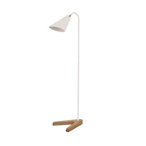 Lampadaire nordique de mode antidérapant bois base de fer salon canapé chambre lampe de chevet, H140 * W50cm (Couleur : Pearl White)